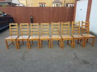 8 Ikea Solid Wood High Ladder Back Chairs FREE DELIVERY 412