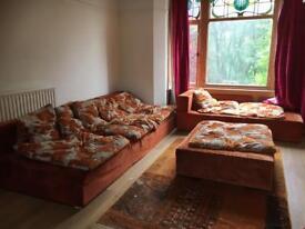 Beautiful, large sofa, settee, and ottoman set