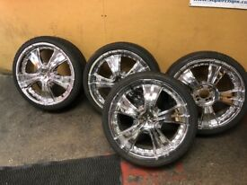 "4 chrome effect 18""wheels with good tyres 4stud multi applicaton were on Vauxhall Corsa."