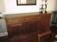 Triple Dark Wood Sturdy Sideboard