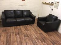 Quality leather sofa + chair (free delivery)