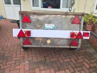 Used Box Trailer - 1.74m (L) x 1.13m (W) x .66m (H) brand new tyres, mud guards, light board