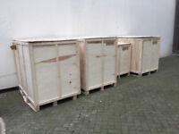 Wooden Shipping Crates Boxes, Packing, Stackable Export Import Cases Storage