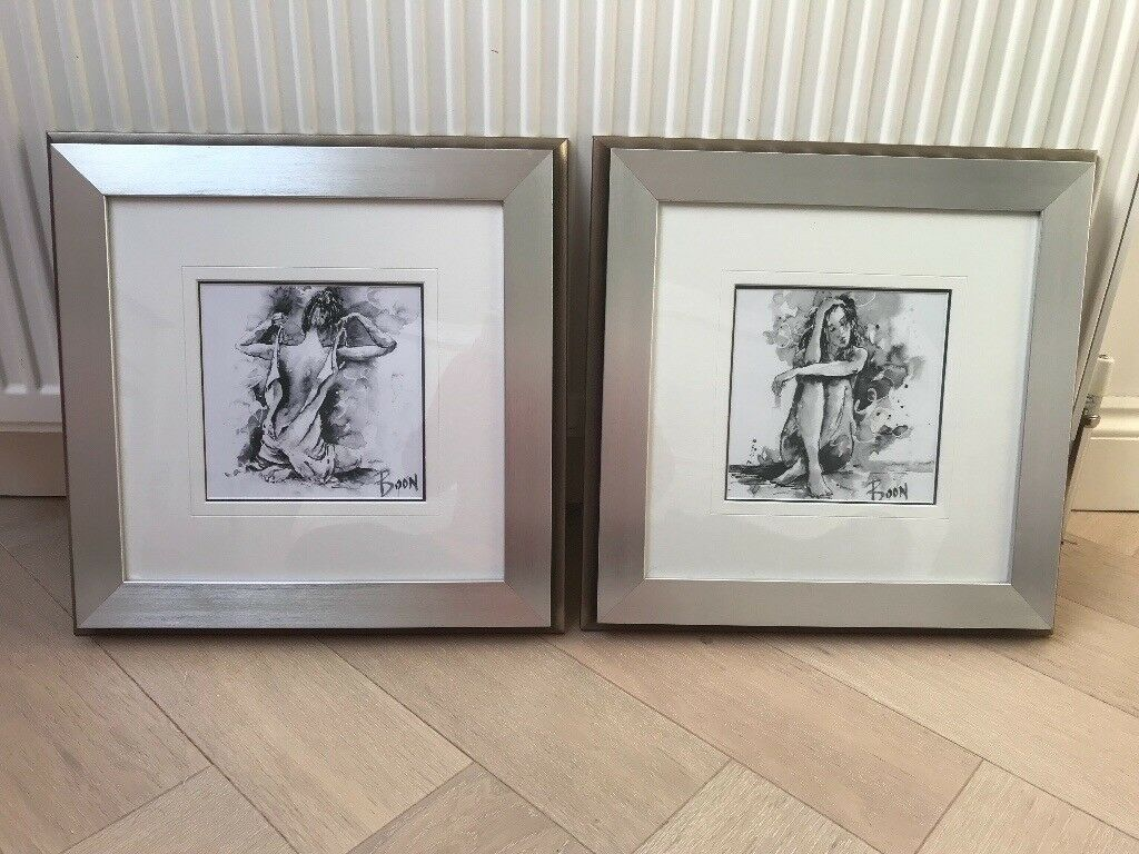 5bcf26f52f 2 x Joanne Boon Thomas Art in silver wood frame