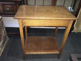 Superb Small Golden Oak Vintage Console Side Table