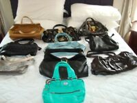 Assorted handbags.