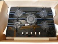 Hotpoint Luce 5 Burner Direct Flame Gas Hob 75cm Black glass