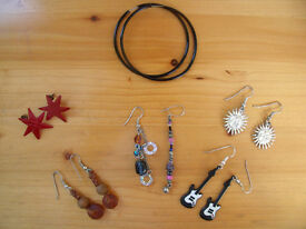 6 pairs earrings for pierced ears (1 unmatched) – hoops, guitars, suns, stars, dangling. £2.50 lot.