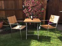 NEW QUALITY PATIO BALCONY GARDEN FURNITURE SOLID WOOD STAINLESS STEEL FOLDING SQUARE TABLE 2 CHAIRS