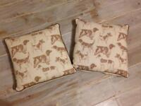 PAIR OF CREAM BROWN DOG PRINTED COTTON CUSHIONS NEW WITHOUT TAGS 43 cm SQUARE