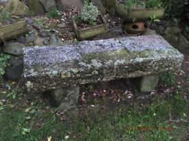 SOLID CORNISH GRANITE GARDEN BENCH ANTIQUE OVER 100 YR OLD