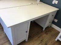 White solid wood Ikea Hemnes desk