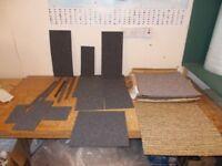 Carpet tiles Light Grey x 9 and Off cuts £10