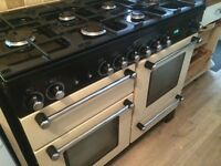 Range master dual fuel double oven and grill. Cream in colour. 6 gas burners. Professionally cleaned