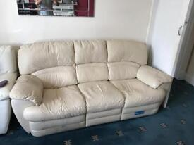 Cream leather couch double recliner on each side, sofa