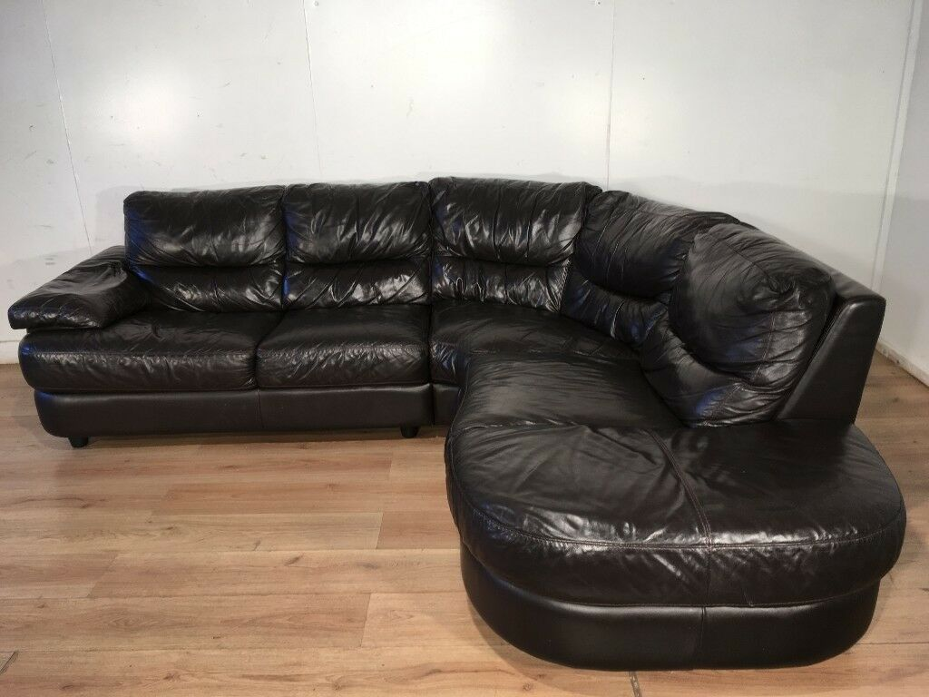 Dark Brown Real Leather Corner Sofa With Free Delivery
