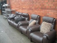Brown leather 3 piece suite. 2 chairs are reclyners