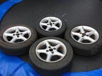 "Mazda MX5 Alloy Wheels 14"" TSW Stealth & 175/65R14 Tyres"