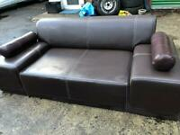 Brown 2 seater leather sofa X 2