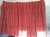 Dark red and hessian coloured pinch pleat curtains for large/bay window