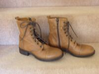 Tan Lace and Zip Ankle Boots Size 5 by Clarks