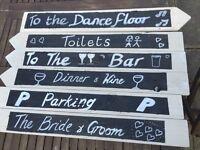 WEDDING DECRATION HAND MADE SIGNS PRE WRITTEN