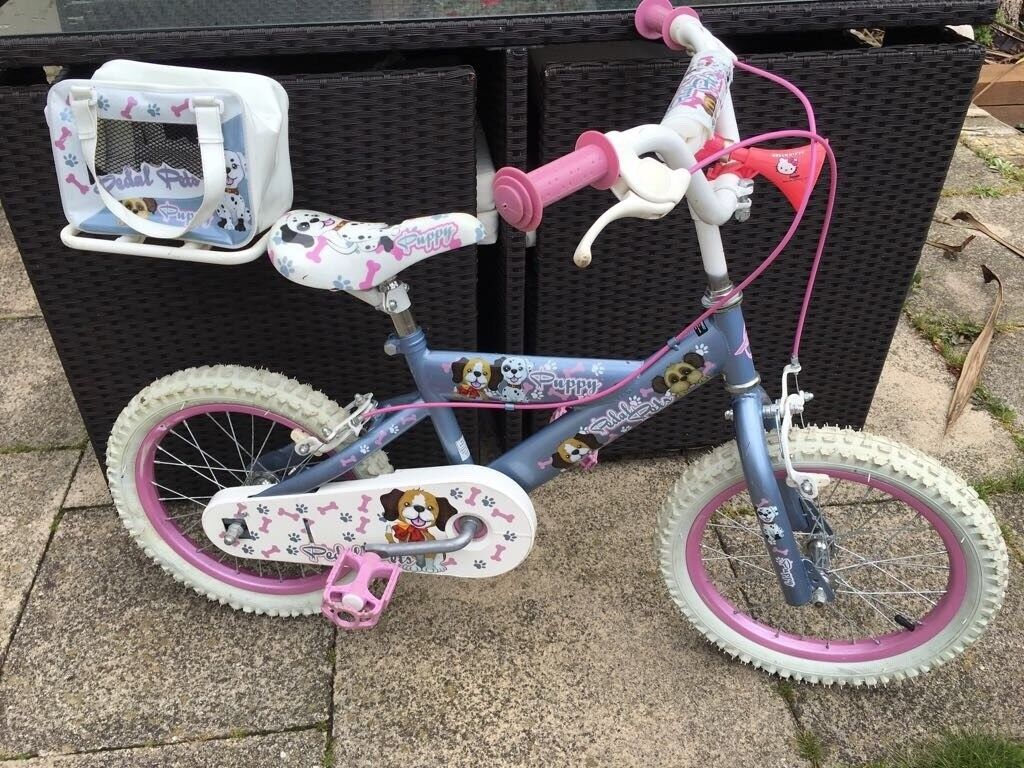 GIRLS 16INCH PEDAL PALS BIKE WITH CARRIER