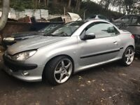 Peugeot 206 cc 2003 2.0 petrol silver 3dr Breaking For Spares