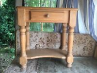 Pine occasional table with drawer