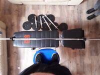 Bench,6ft barbell,40kg weights,2 sets of dummbell bars
