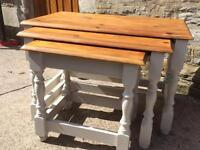 Solid Pine nest of 3 tables