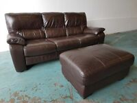 BROWN GENUINE LEATHER DFS 3 SEATER SOFA / SETEE / SUITE WITH FOOTSTOOL / POUFFE DELIVERY AVAILABLE
