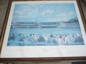 Lords Cricket Ground Match Signed By Players Framed Picture by Artist Alan Fearnley