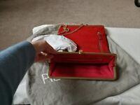 Designer red leather clutch/shoulder /over body.... And 2 kipling bags