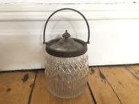 Antique Circa Victorian Glass Storage Jar Sweet Jar Biscuit Barrel (no 2)