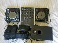DJ decks, mixer, speakers & subwoofer