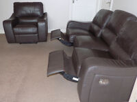 Real Leather Reclining Sofa Suite (Chocolate Brown) PRICED TO GO ASAP