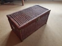 Hinged Wicker Blanket/Storage Box with Brass Fittings