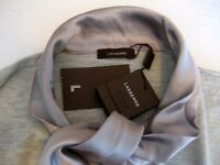 Matching Jumper & Caridgan, Elegant Silver Silk Twin Set - NEW w/ Tags, UK 18 - Designer Lasserre