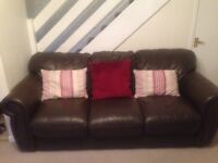 Leather 3 seater sofa with chair