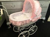 Stunning white /pink wicker antique reborn or baby girl dolls pram NOW SOLD