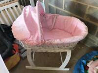 Pink embroidery Anglaise Moses basket
