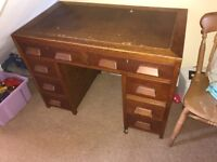 Old style bureau desk with drawers.