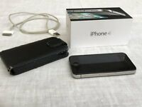 iPhone 4 8GB - with original box, power cable and leather-look case - very good condition - £50