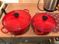 2x Le Creuset cast iron casserole dish- Red