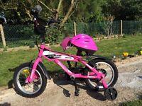 "KIDS GIRLS CHILDREN AMMACO MX14 14"" WHEEL WITH STABILISERS AND HELMET BIKE BICYCLE"