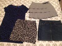 3 short skirts & 1 long top/dress
