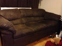Brown brushed leather sofa. and chairs