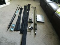 4 x rods, 2 x reels, brolly and other bits