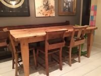 Reclaimed pine kitchen dining table